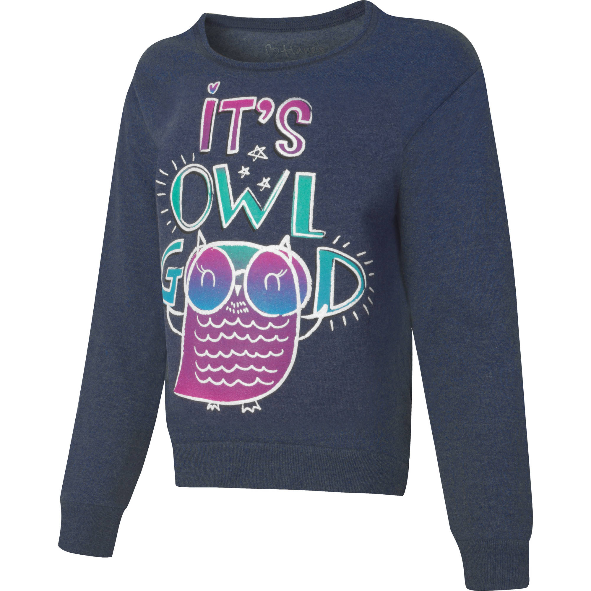 Hanes Girls' Printed Fleece Sweatshirt
