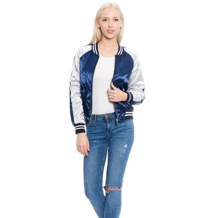 Women's Quilted Two-Tone Lightweight Bomber Jacket