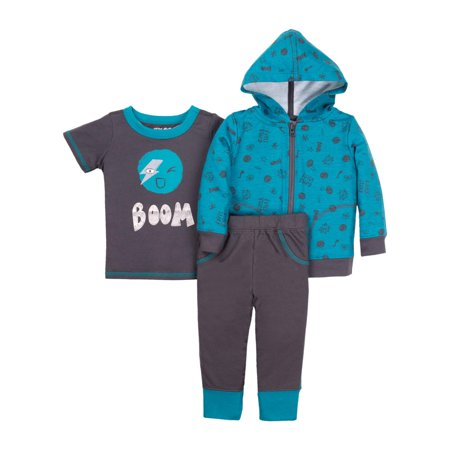 Little Star Organic Newborn Baby Boy Hoodie  T Shirt    Pant 3Pc Outfit Set