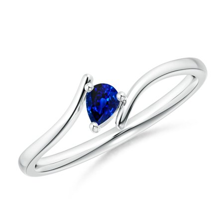 September Birthstone Ring - Bypass Pear-Shaped Blue Sapphire Ring in 14K White Gold (4x3mm Blue Sapphire) - SR1207S-WG-AAAA-4x3-4