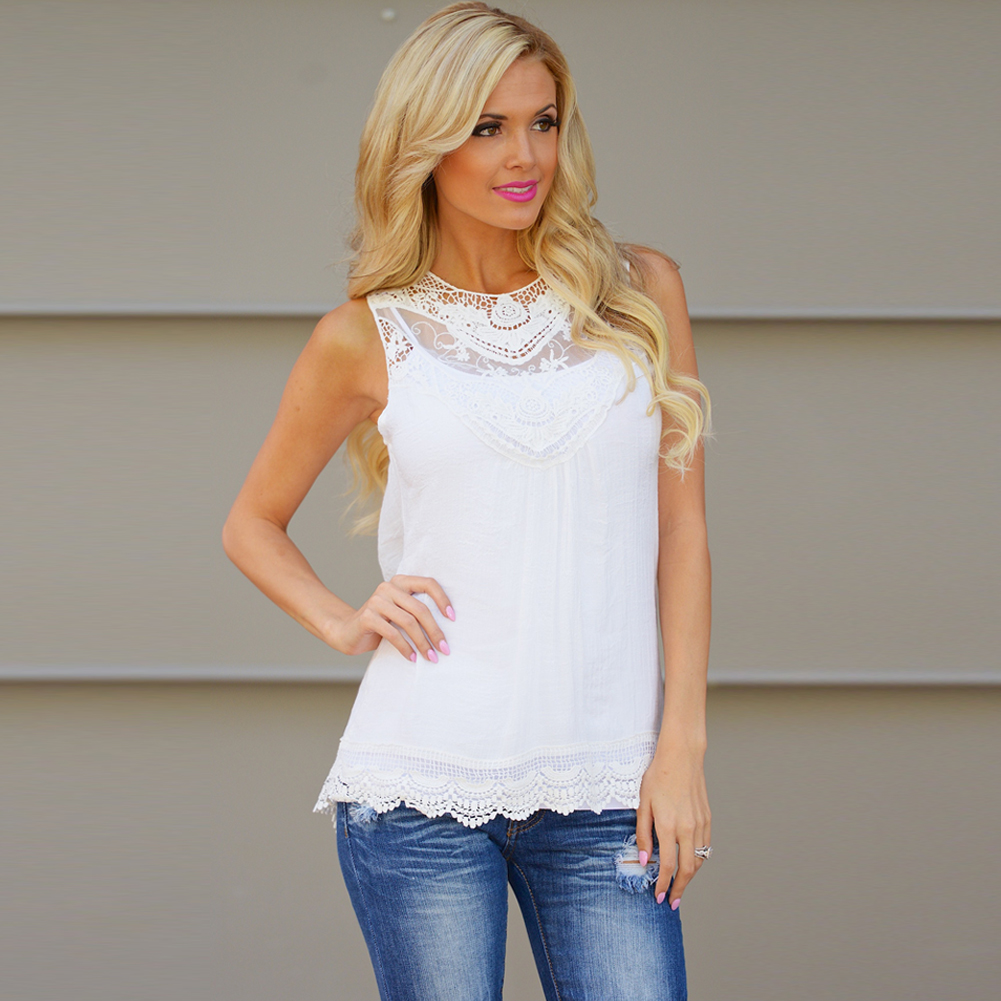 WHITE Fashion Women Summer Vest Top Sleeveless Blouse Casual Tank Tops T-Shirt Lace