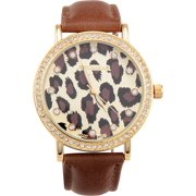 Rocawear Watch RL0271G1-145 Gold/Leopard Dial Leather Band Quartz Movement