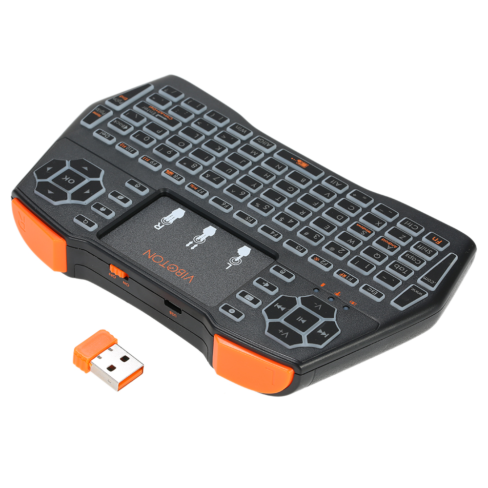 VIBOTON I8plus 2.4G Mini Wireless Keyboard Multimedia Handheld Keyboard with Touchpad Mouse Remote Control Seven-color Marquees for Windows PC Android TV Box