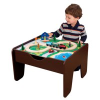 KidKraft Wooden 2-in-1 Activity Table with Board - Espresso with 230 accessories included