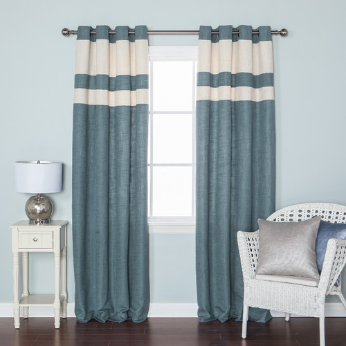 Best Home Fashion, Inc. Striped Heavyweight Textured Faux Linen Grommet Top Curtain Panels (Set of 2)