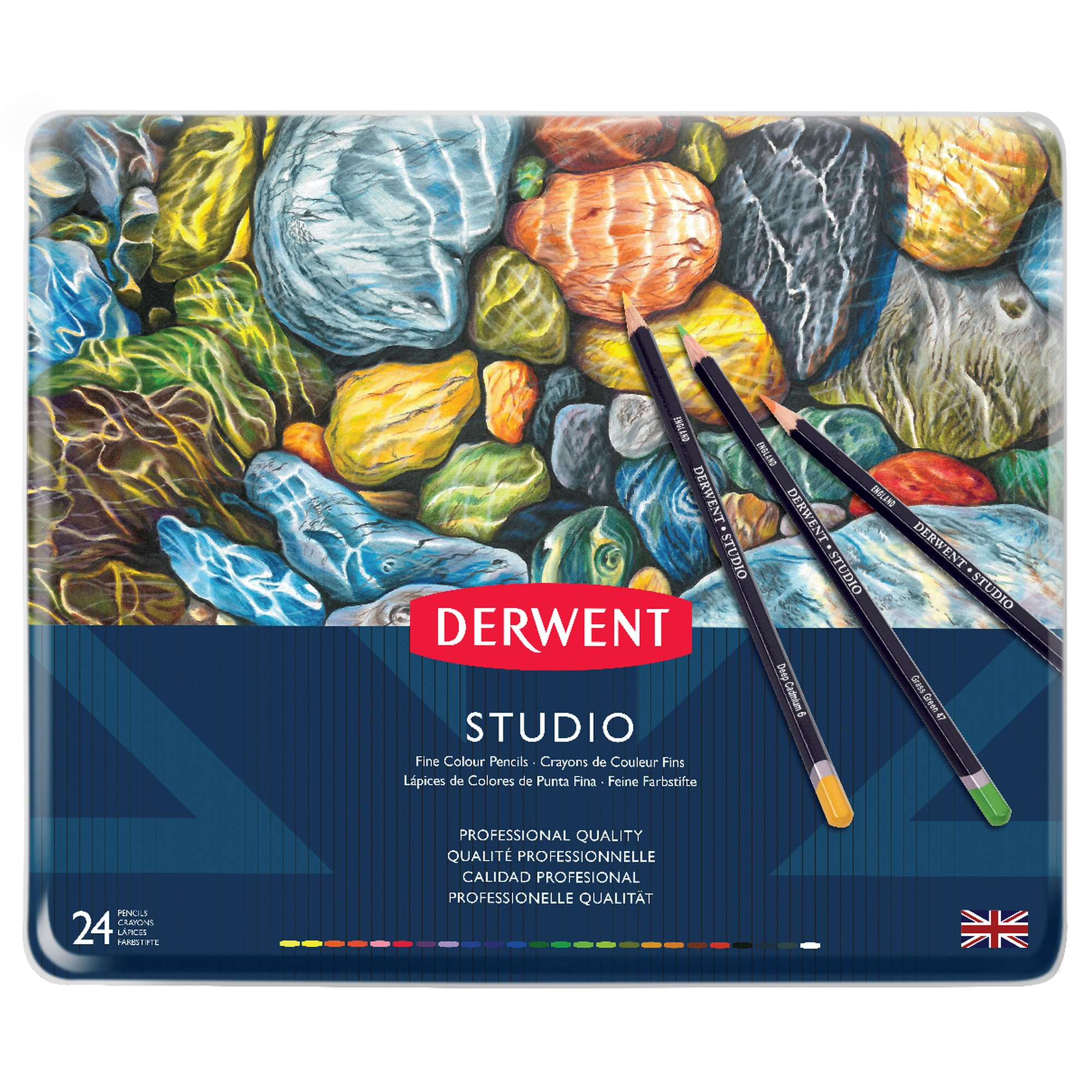 Derwent Studio 24 Fine Colour Pencils Tin - Pens And Pencils