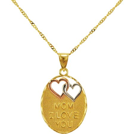 """""""Mom I Love You"""" Oval Gold Plated over Sterling Silver Pendant, 18"""" Necklace"""