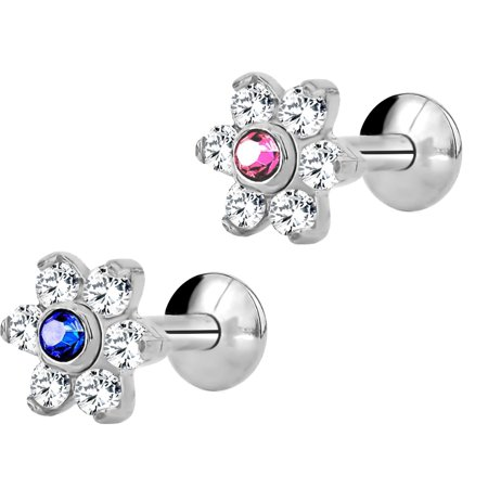 16g 6mm 8mm Internally Threaded Tragus Helix Earring And Labret Stud With Crystal Flower