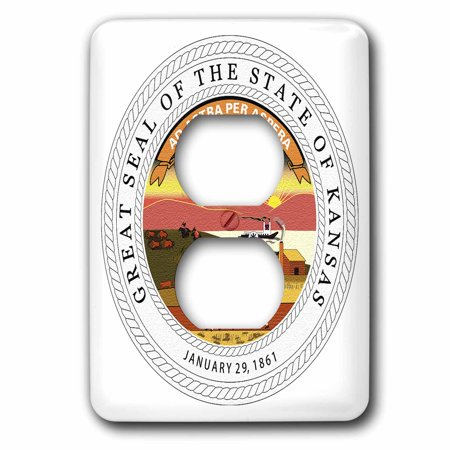 3dRose Great State Seal of Kansas (PD-US) - 2 Plug Outlet Cover (Outlet Mall In Kansas)