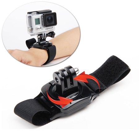 TSV 360 Degree Rotating Glove Style Wrist Strap Band Mount Hand Palm Belt Lanyard Holder with Screw for GoPro HERO5/4 Session 5/4/3+ /3 /2 /1, Xiaomi Yi Action Sport Outdoor