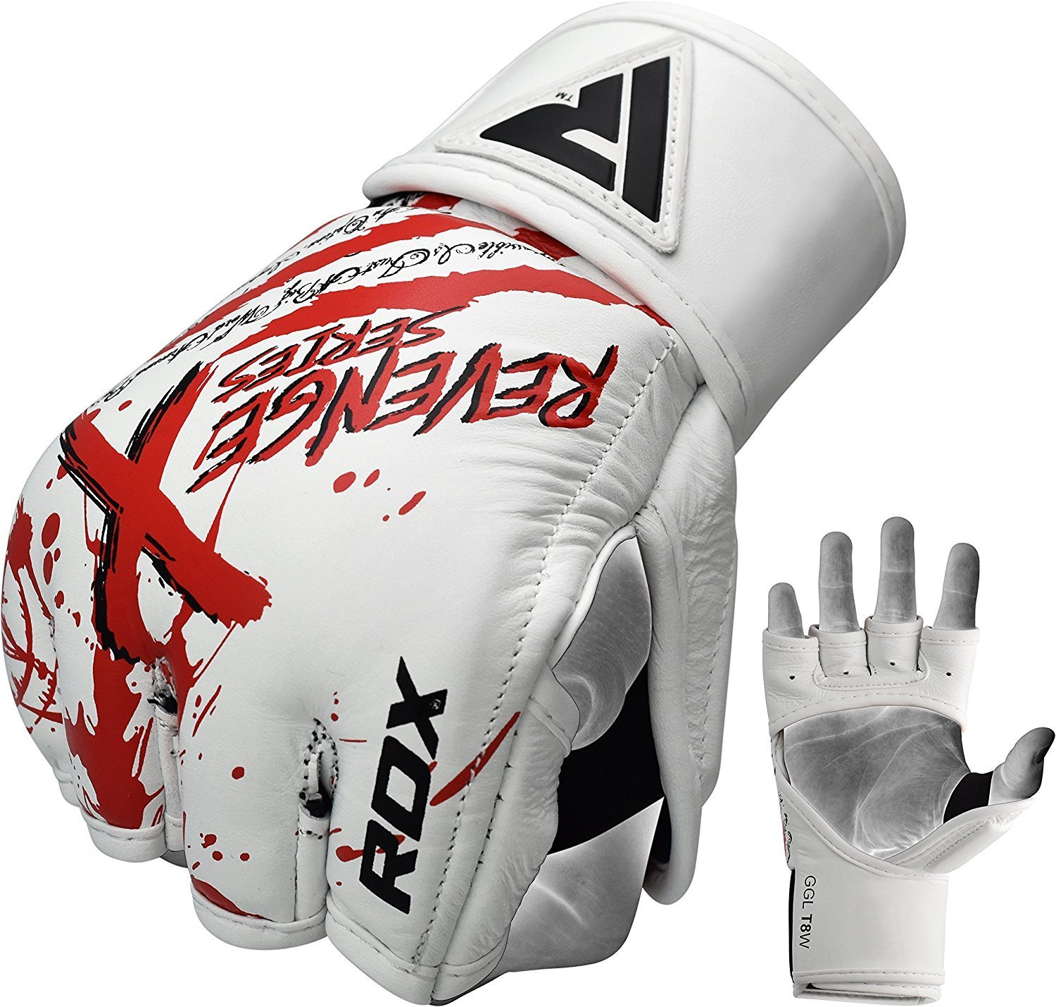 RDX T8 MMA Gloves Punching Boxing Bag Grappling Training Fighting UFC White