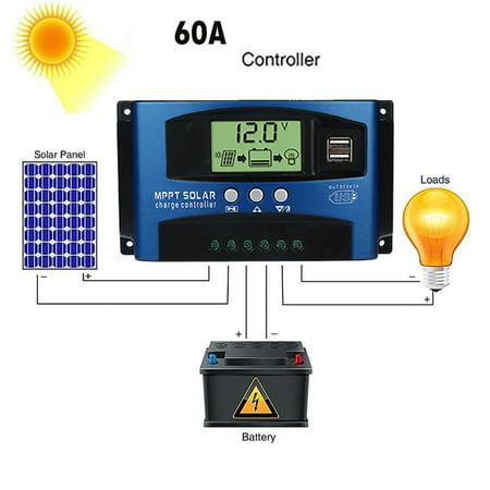 60A MPPT Solar Panel Regulator Charge Controller 12V 24V Auto Focus Tr