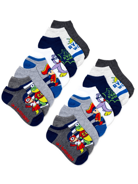 Ryan's World Boys Socks, 12 + 4 Pack No Show Socks Sizes S - L