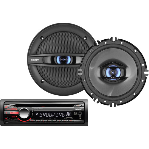 Auto Car Stereo with (2) Speakers + Optional Accessories Bundle from Boss, Kenwood, Pioneer, Sony