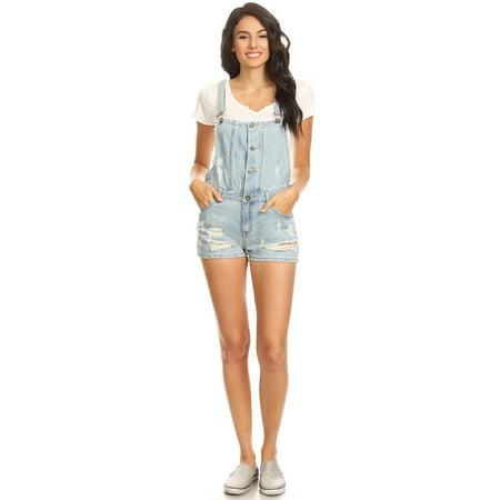 003986cb40 Summer Juniors Distressed Ripped Denim Jean Short Overalls For Women