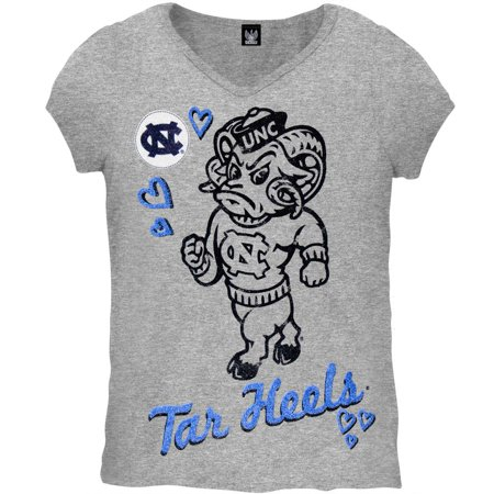 North Carolina Tar Heels - Glitter Heart Girls Youth T-Shirt - Youth 20