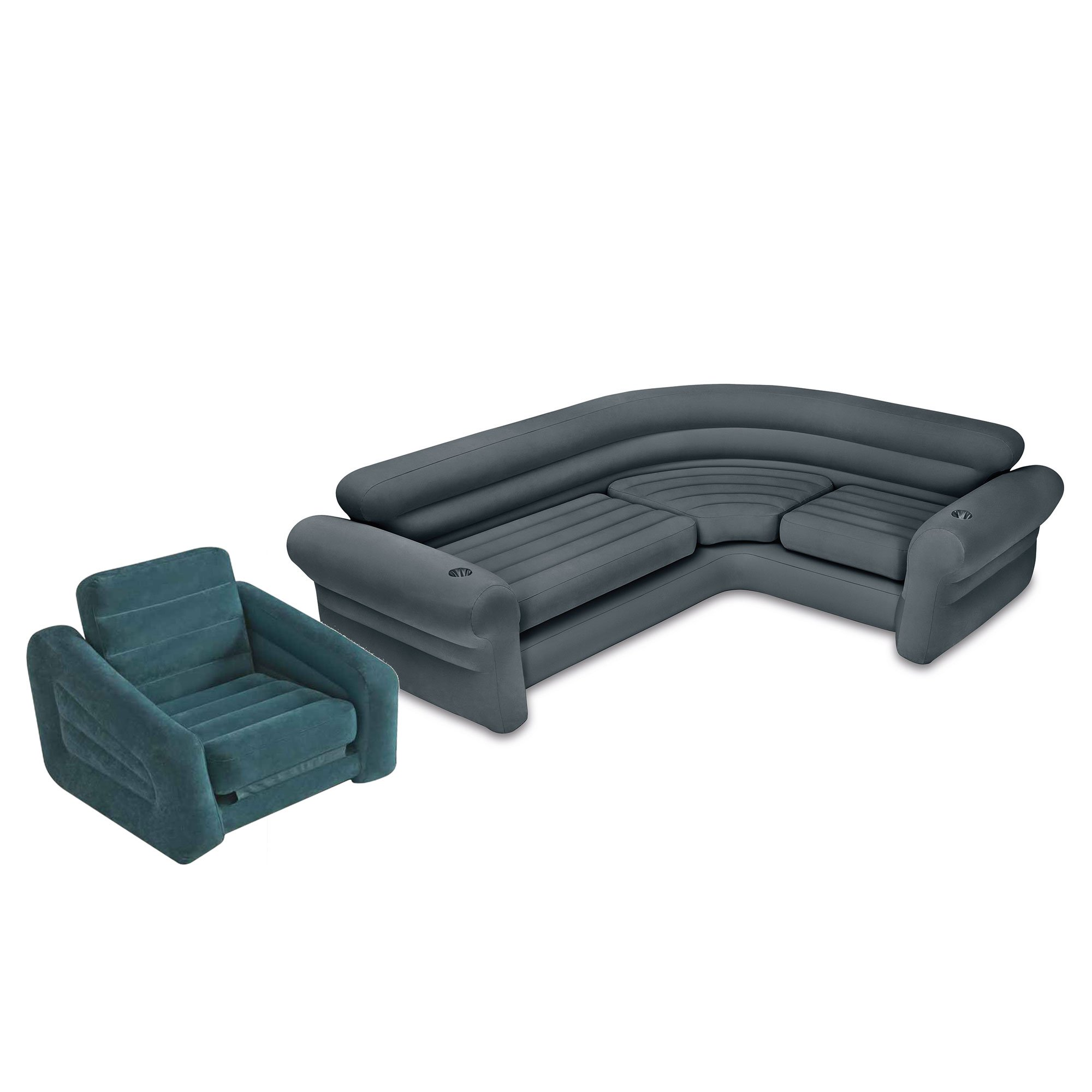 Intex Inflatable Corner Couch Sectional Sofa and Pull-Out Twin Air Bed Sleeper by Intex
