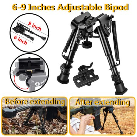 CVLIFE 6-9 Inches Rifle Bipod, Quick Release Adapter Included for Hunting, w/ 20mm Picatinny Rail Mount (Best Inch Bipods)