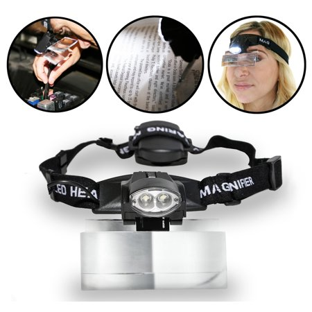 Magnifying Glass With Light Led Headlight With Magnifier Interchangeable Glasses