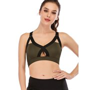 Women Sexy Hollow Out Wirefree Sports Bra High Impact Fitness Support Running Yoga Top Longline Yoga Bra
