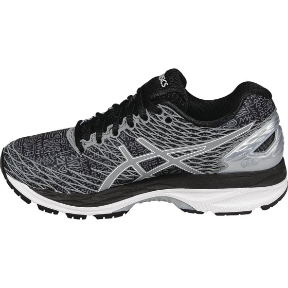 sports shoes b0475 ee71c ASICS - Womens Asics Gel Nimbus 18 Lite Show Black Silver Shark T6E5N-9093  - Walmart.com