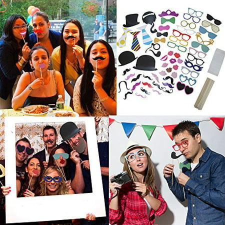 58 Piece Photo Booth Props DIY Kit Party Favor Dress Up Accessories For Parties, Weddings, Reunions, Birthdays, Bridal Showers. Costumes With Hats, Lips, Mustache, Glasses, Bows And More On Sticks. - Party Photo Booth