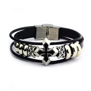 New Unisex Stainless Steel Silver & Genuine Leather Black Cross Bracelet Great Valentine's Day Gifts For Men, Women, Teens, Boys, Girls