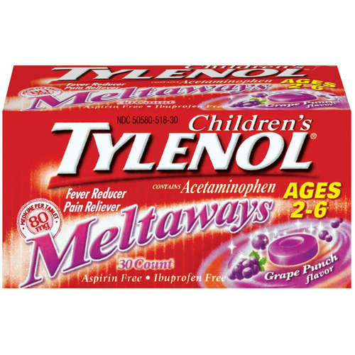 McNeil Tylenol Children's Meltaways Fever Reducer/Pain Reliever, 30 ea