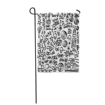 Felt Hip Hop (LADDKE Urban Rap Hip Hop Symbols Doodles Felt Party Pen Garden Flag Decorative Flag House Banner 12x18)