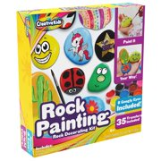 Rock Painting Outdoor Activity Kit for Kids – DIY Art Set w/ 10 Hide and Seek Stones, 12 Acrylic Paint Tubes & 2 Brushes – Fun Googly Eyes, Easy Transfer Design for Boys & Girl