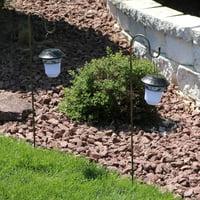 Sunnydaze Outdoor Solar Lantern Light, Hanging Decorative Garden and Path Lights, with Shepherd Hooks (Set of 2)