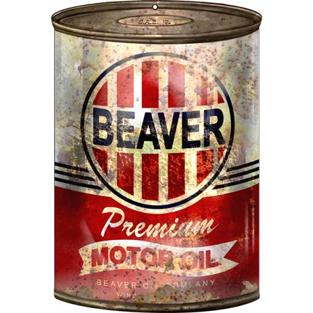 - Reproduction Beaver Motor Oil Can Cutout Sign 7 1/4