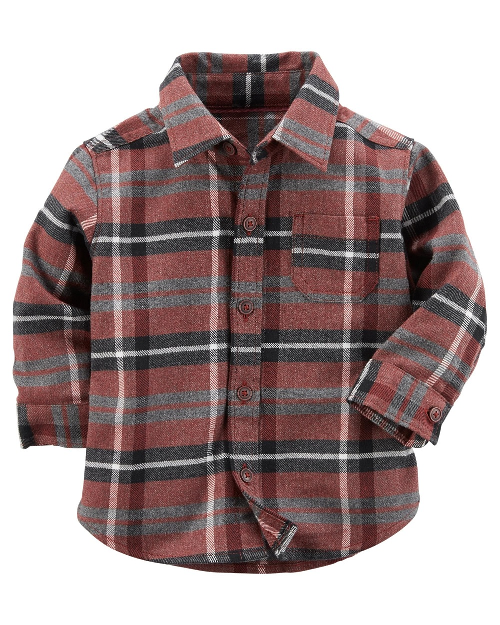 Carter's Baby Boys' Plaid Button-Front Shirt, Brown, 6 Months
