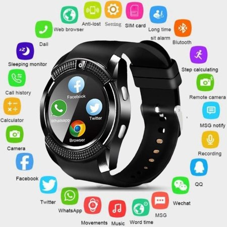 Smart Watch Bluetooth Touch Screen Android Waterproof Sport Smartwatched with Camera SIM