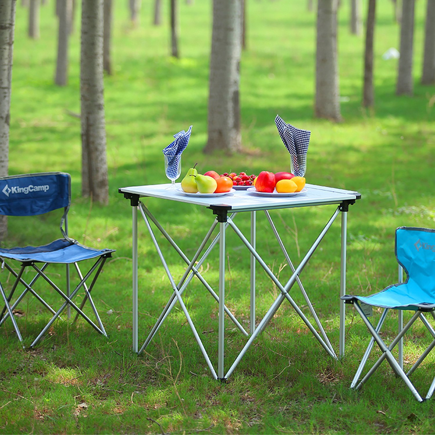 70 /× 70 /× 69 cm KingCamp Folding Aluminium Table Roll-Top Lightweight Portable Stable Compact and Easy Transport for Camping Outdoor Picnic Vacation
