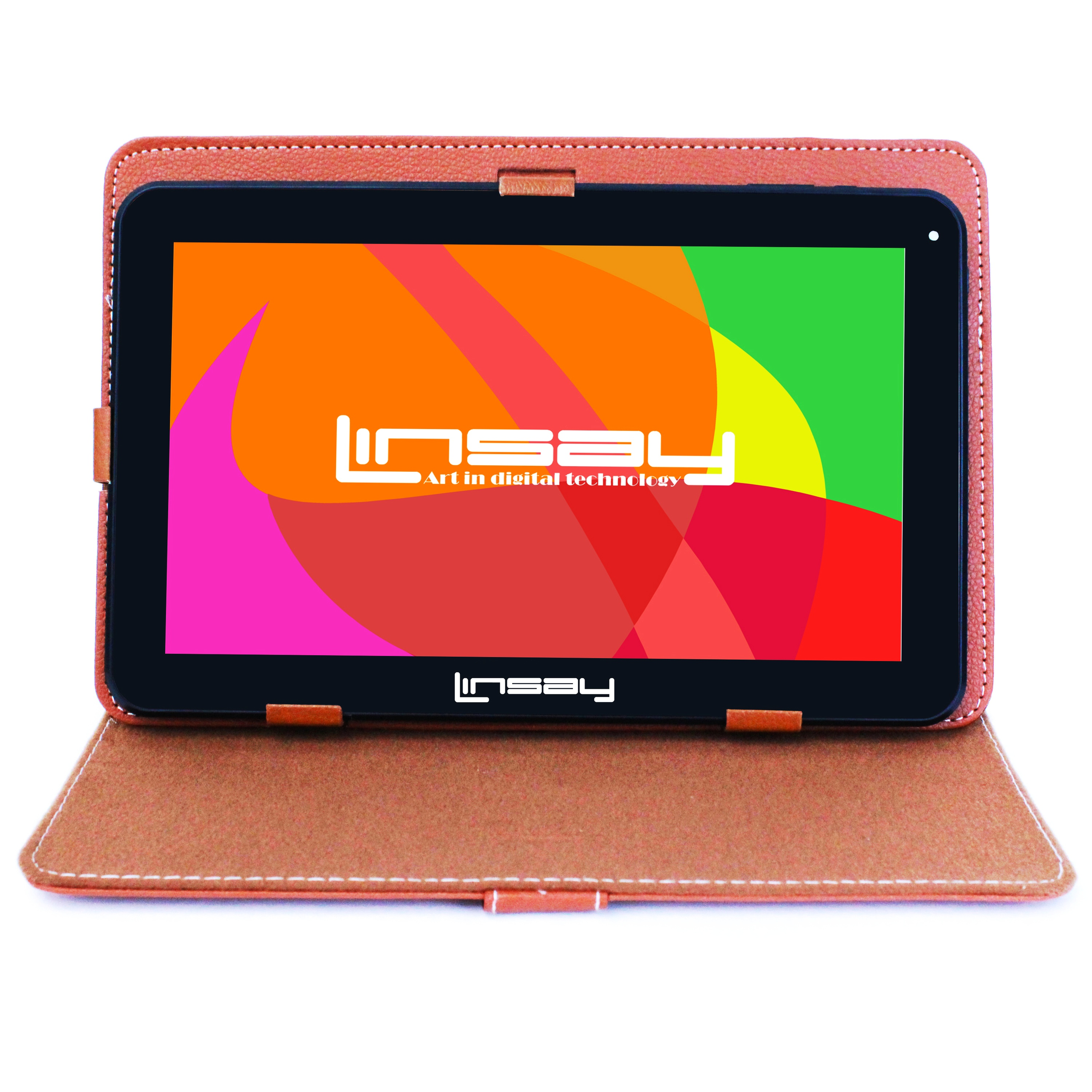 "LINSAY 10.1"" Touchscreen Quad Core Tablet PC Featuring Android 4.4 (KitKat) Operating System Bundle with Brown Case"