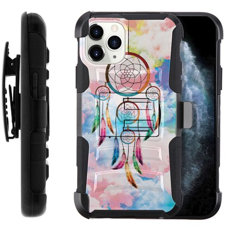 "FINCIBO Hybrid Armor Case Cover Stand TPU Holster for Apple iPhone 11 Pro Max 6.5"" 2019, Sky Dream Catcher"