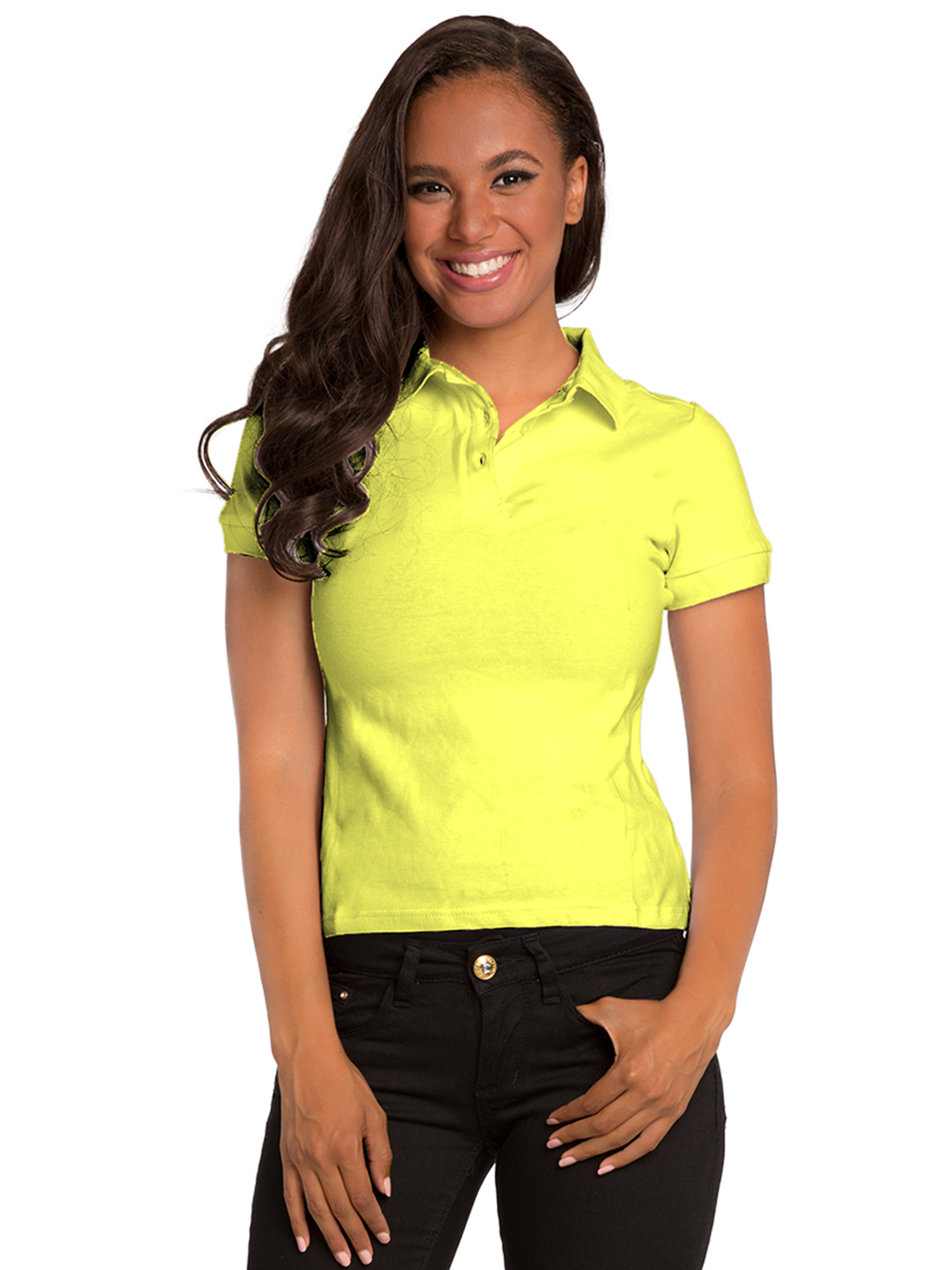 Sweetvibes Sweet Vibes Women Green Stretch Pique Polo Shirt Short