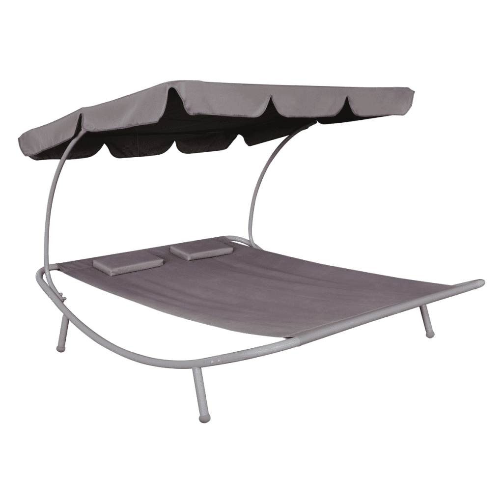 Anself Outdoor Double Sun Bed with Canopy & 2 Pillows Brown by