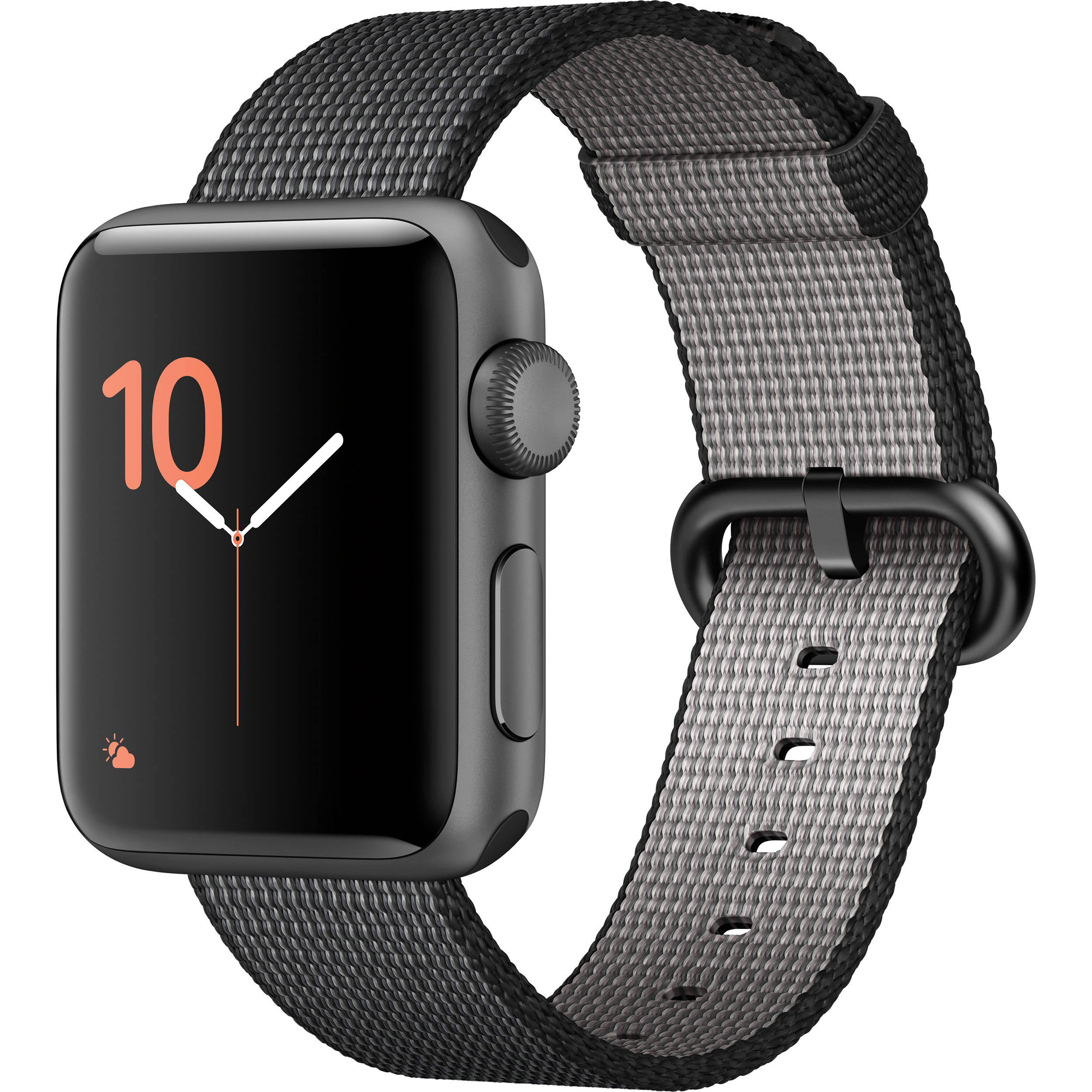Refurbished Apple Watch Gen 2 Series 2 38mm Space Gray Aluminum - Black Woven Band MP052LL/A