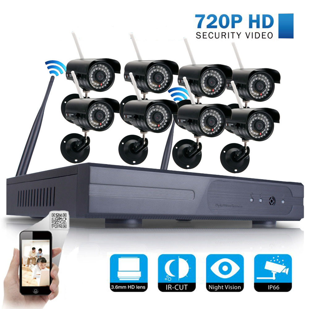Ktaxon Security System 8CH 720P HD NVR 8PCS Wifi 1MP Waterproof Cameras Night Vision-NO HDD