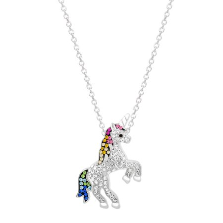 Silver-Plated Multi Crystal Unicorn Pendant, 18 Chain (Unicorn Necklace)