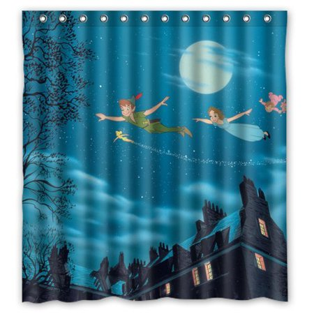 DEYOU Cartoon Peter Pan Shower Curtain Polyester Fabric Bathroom Size 66x72 Inch