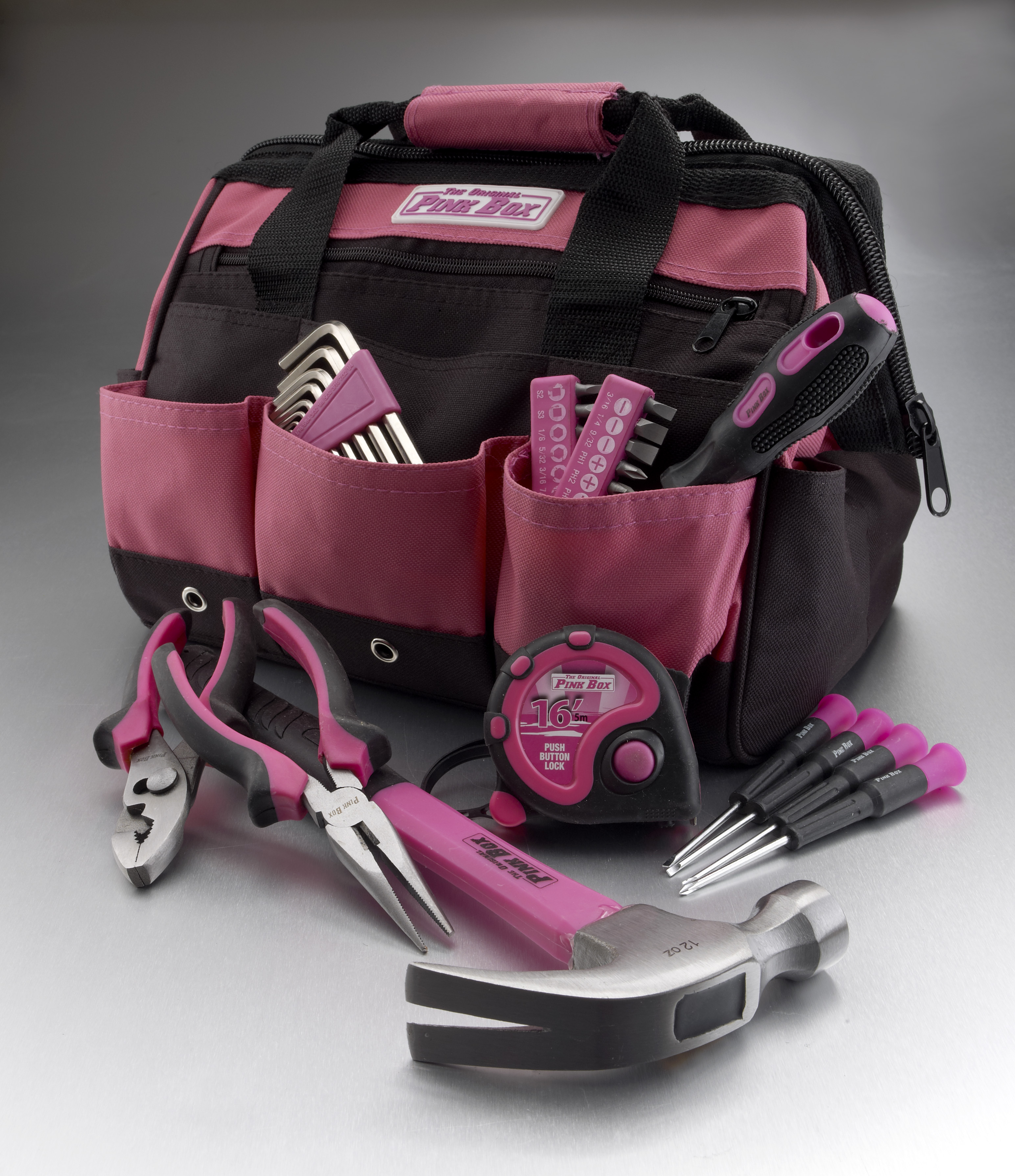 The Original Pink Box PB30TBK 30-Piece Home Tool Set, w  12-Inch Tool Bag, Pink by Cala Industries Inc