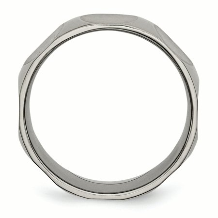 Titanium Faceted 8mm Wedding Ring Band Size 8.50 Fancy Fashion Jewelry Gifts For Women For Her - image 1 de 10