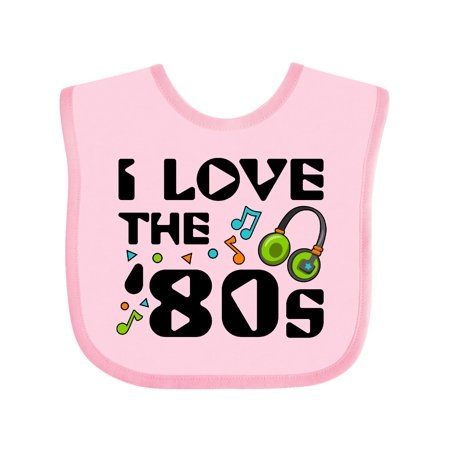 Inktastic I Love the '80s-musical notes Baby Bib Unisex, Pink