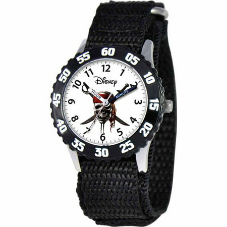Disney Pirates of the Caribbean Boys' Stainless Steel Watch, Black Strap