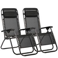 Outdoor Zero Gravity Chairs with Adjustable Pillow, 2 Pack, Black