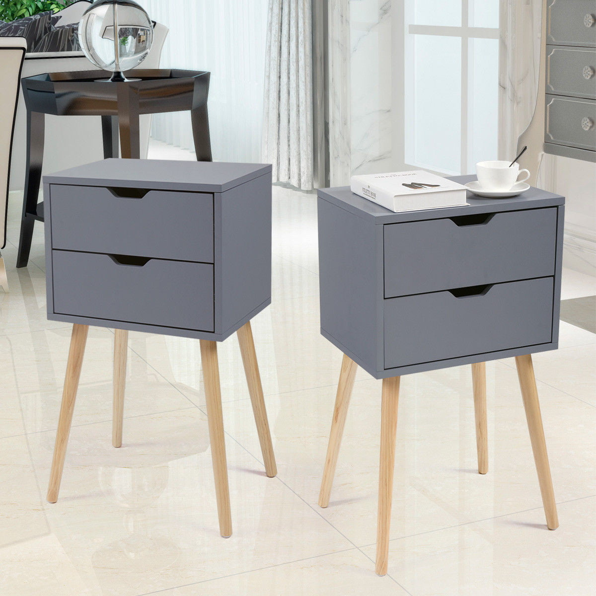 Topcobe Night Stand Set of 2, End Table with 2 Bin Drawer ...