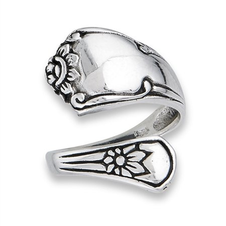 Style Flower Ring (Victorian Style Adjustable Spoon Flower Ring 925 Sterling Silver Band Size 9)